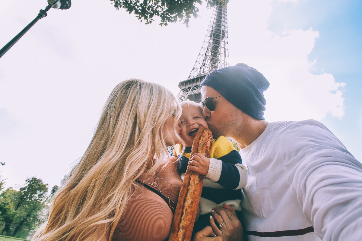 Barefoot Blonde Family in front of Eiffel Tower