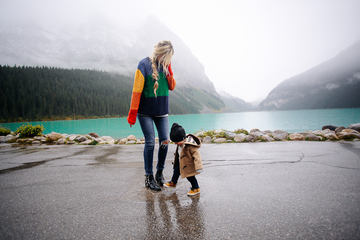 Stomping in puddles in Banff
