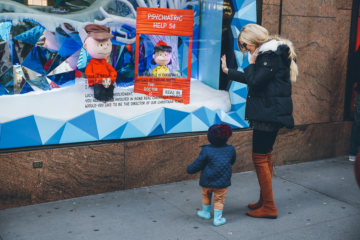 Barefoot Blonde Amber and Atticus with Charlie Brown wearing Bernardo Parka