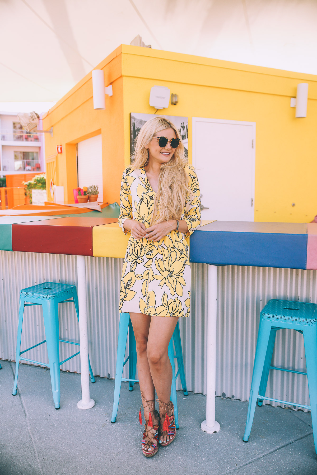 Barefoot Blonde Amber in Palm Springs wearing Schutz