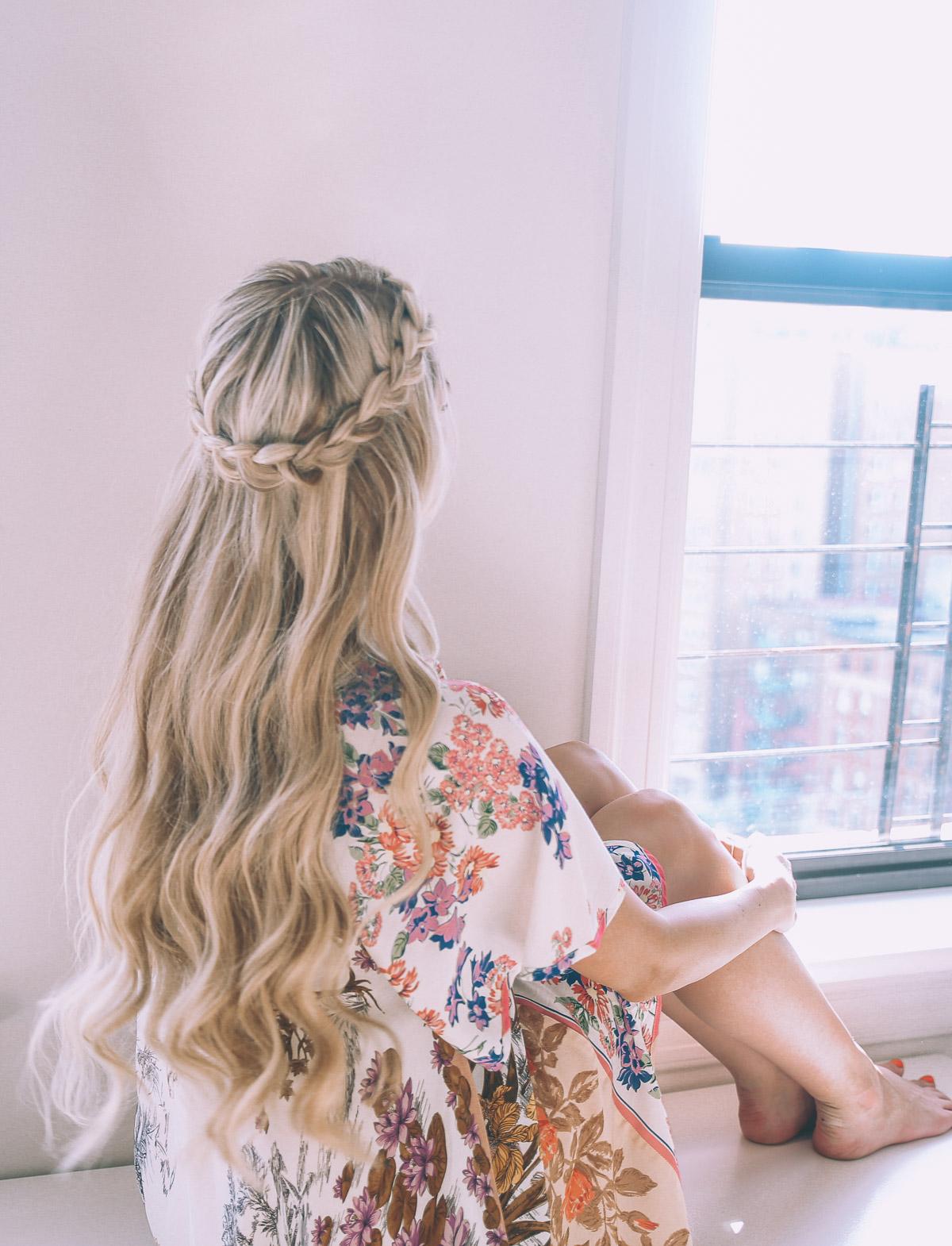 Half Up Halo Braid Soft Curl Tutorial Barefoot Blonde