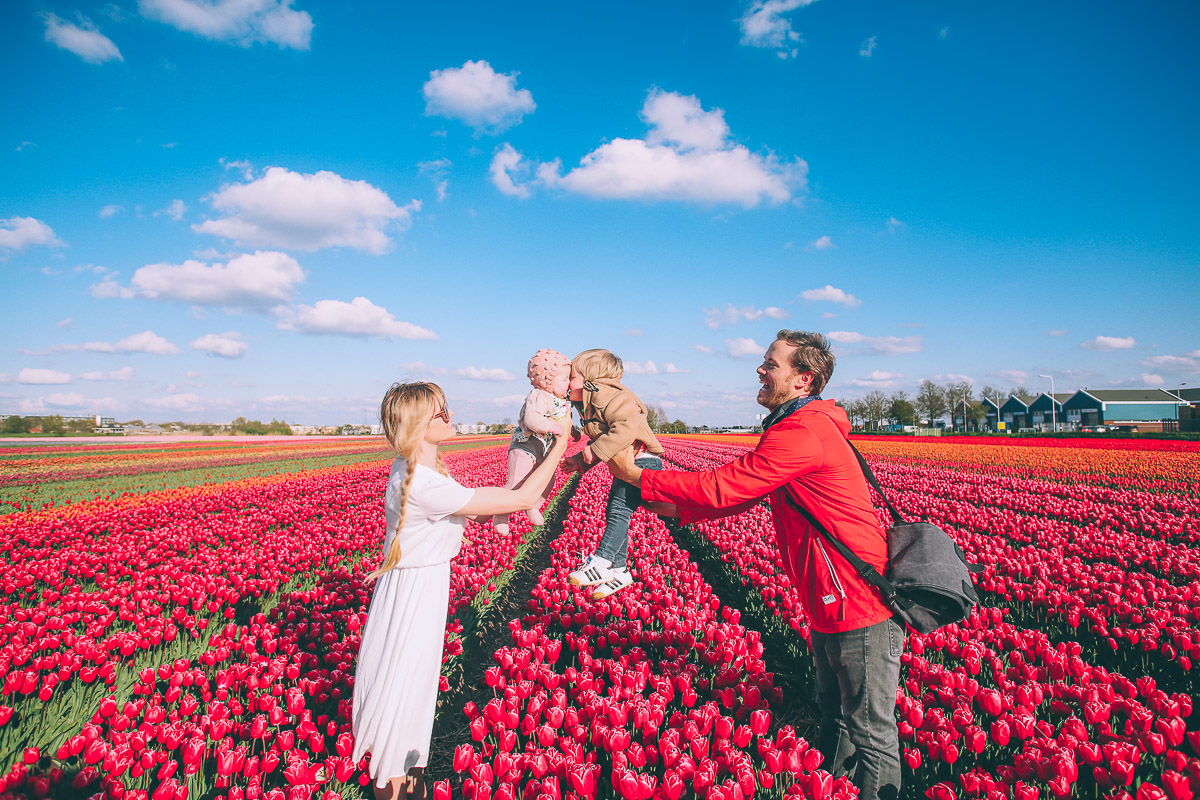 Barefoot Blonde in Holland at the Tulip Festival