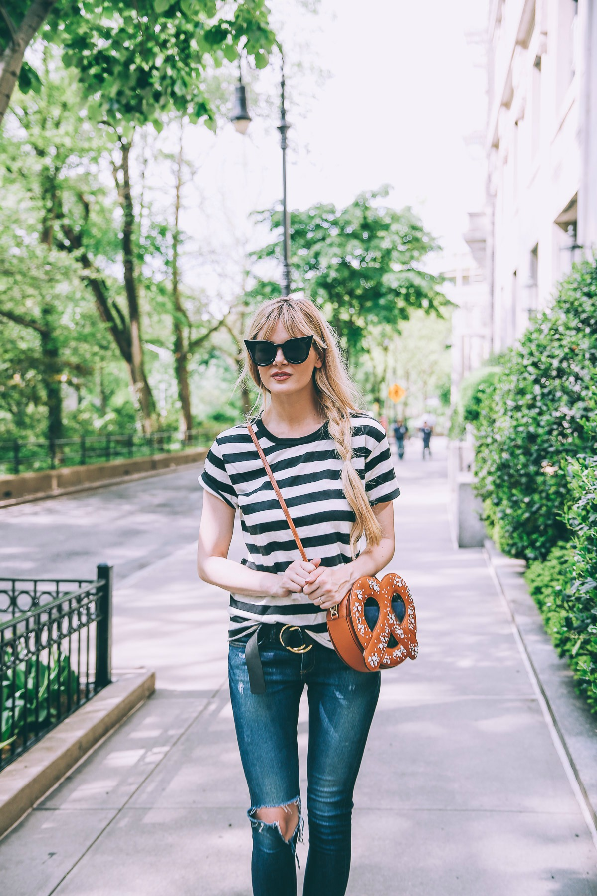 Barefoot Blonde Amber Fillerup in New York City wearing Patricia Chang and Edith A. Miller