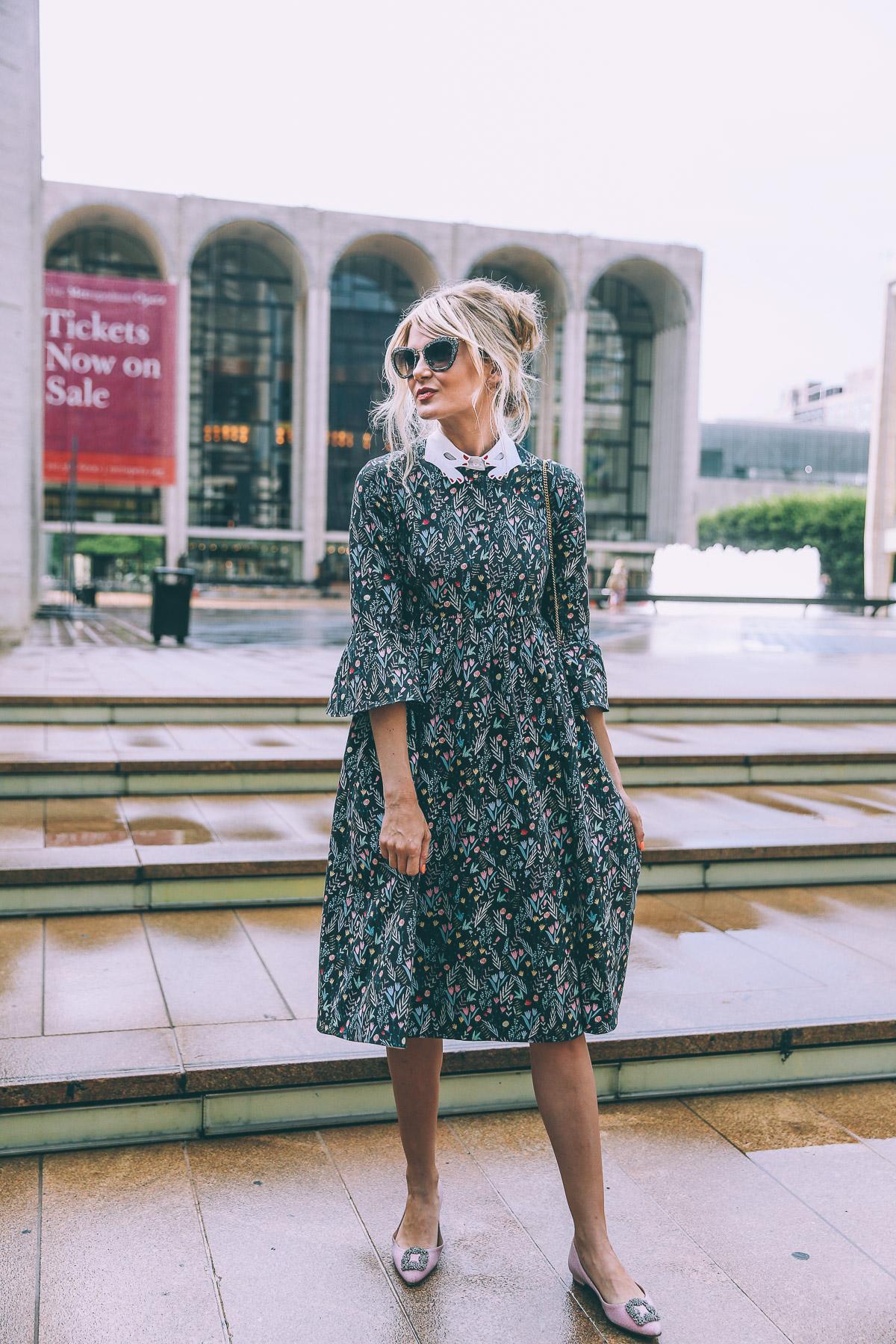 Barefoot Blonde Amber Fillerup wearing Vivetta and Miu Miu at Lincoln Center