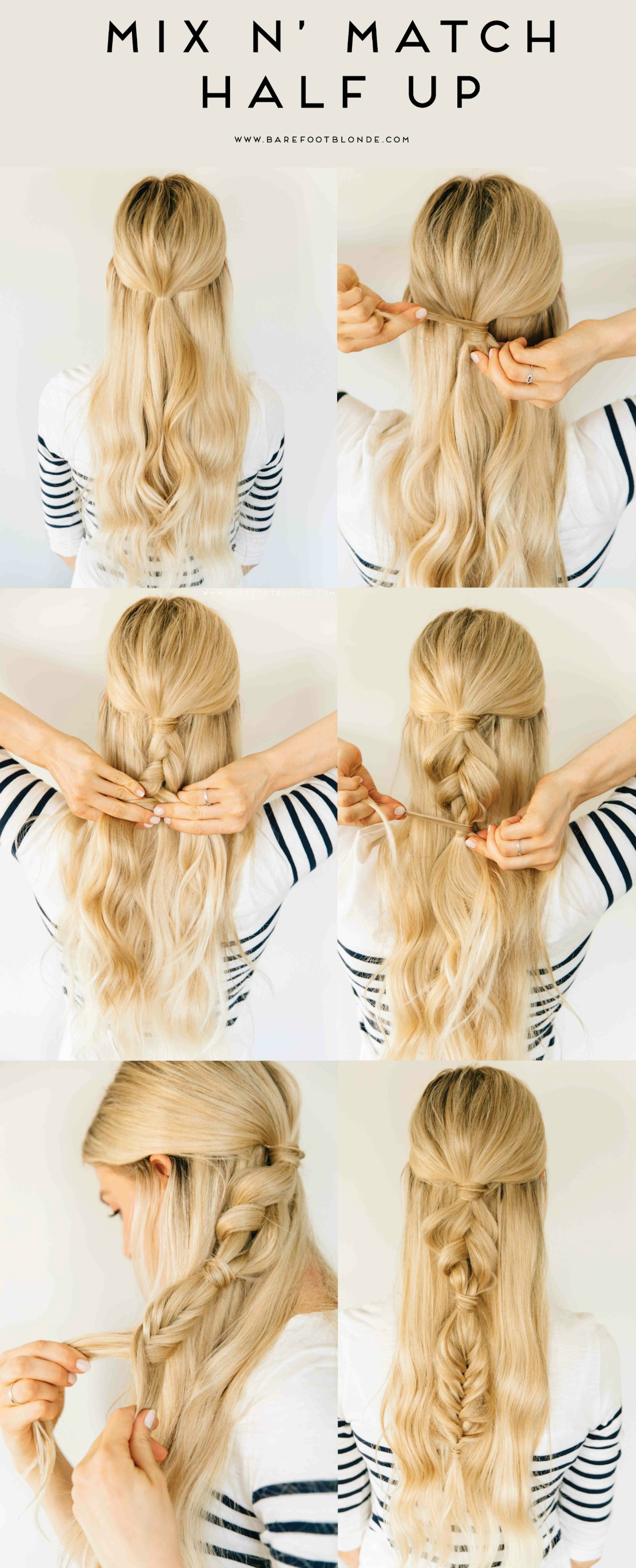 Barefoot Blonde Mix N Match Half Up Tutorial