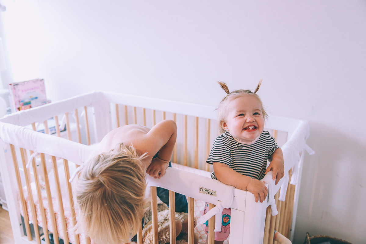 Barefoot Blonde Atticus Rosie and Chauncey playing in nursery