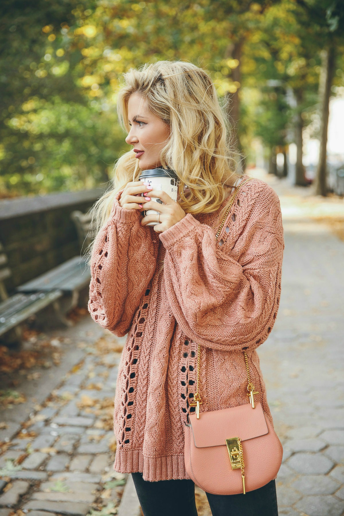 Barefoot Blonde in Fall in Central Park with Nordstrom