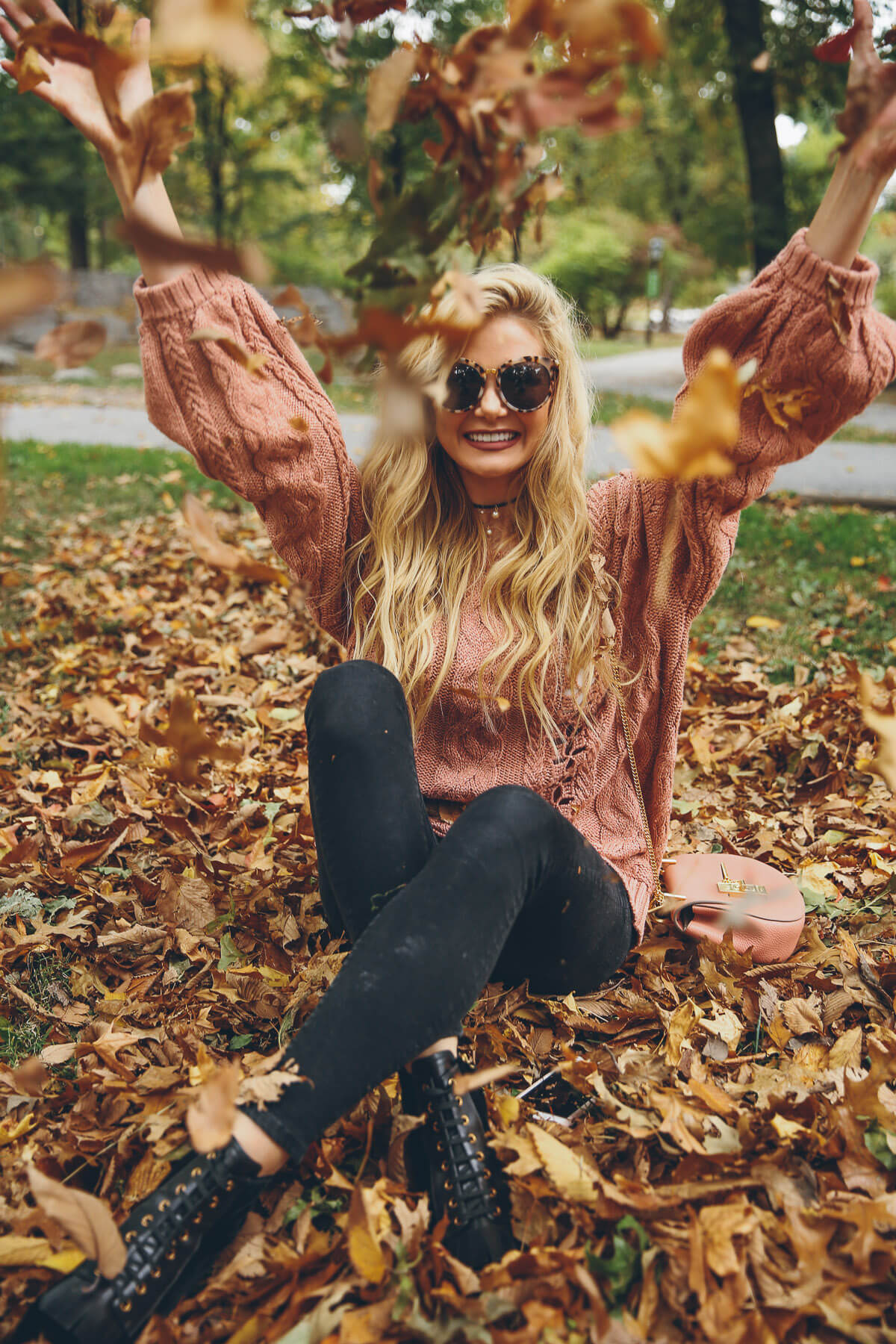 Barefoot Blonde in Fall in Central Park throwing leaves in Prada