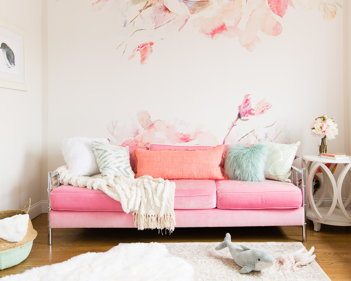 Barefoot Blonde Pink Couch