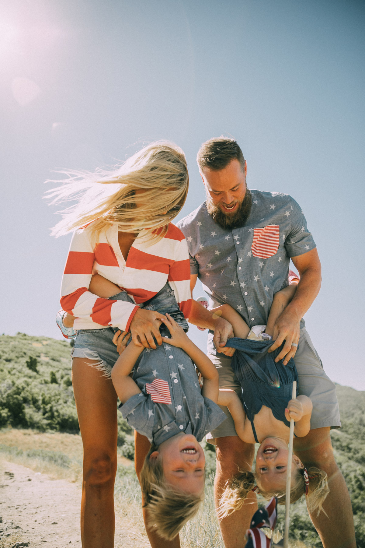 4th of July Recap image of Amber, David, Rosie and Atticus on the 4th wearing red, white and blue.