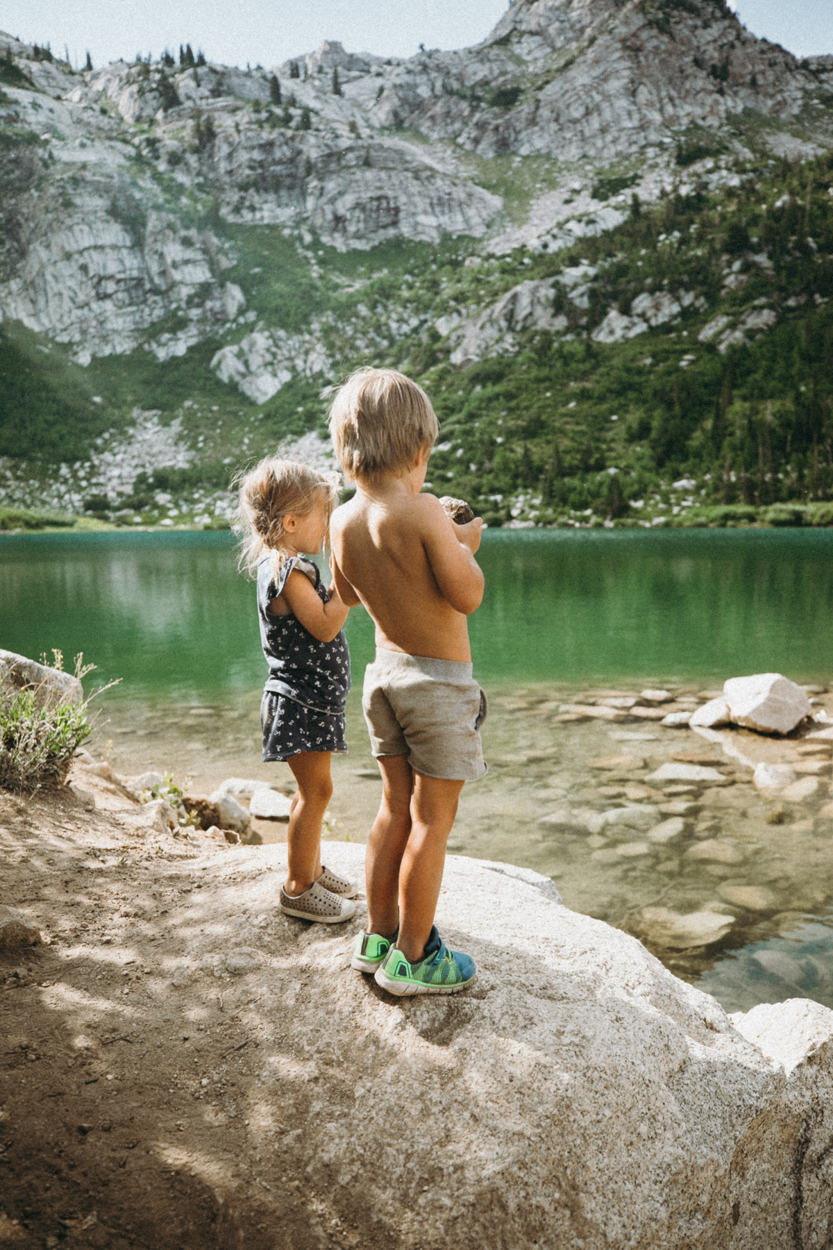 Rosie and Atticus fishing at the lake in Utah during our summer camping trip. Barefoot Blonde.